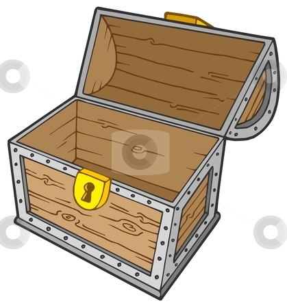 Open empty treasure chest stock vector clipart, Open empty treasure chest - vector illustration. by Klara Viskova