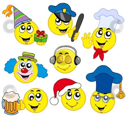Various smileys 4 stock vector clipart, Various smileys 4 on white background - vector illustration. by Klara Viskova