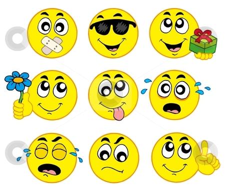 Various smileys 2 stock vector clipart, Various smileys 2 on white background - vector illustration. by Klara Viskova