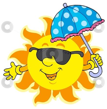 Sun in sunglasses with umbrella stock vector clipart, Sun in sunglasses with umbrella - vector illustration. by Klara Viskova