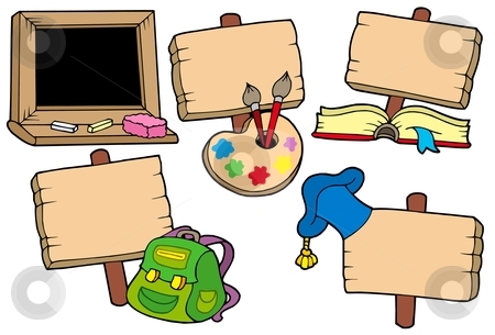 School signs collection stock vector clipart, School signs collection - vector illustration. by Klara Viskova