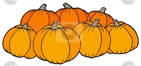 Pile of pumpkins stock vector clipart, Pile of pumpkins - vector illustration. by Klara Viskova
