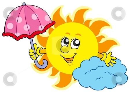 Cute cartoon Sun with umbrella stock vector clipart, Cute cartoon Sun with umbrella - vector illustration. by Klara Viskova