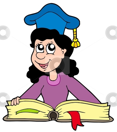Woman teacher with book stock vector clipart, Woman teacher with book - vector illustration. by Klara Viskova