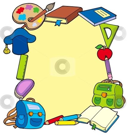 Frame from school objects stock vector clipart, Frame from school objects - vector illustration. by Klara Viskova