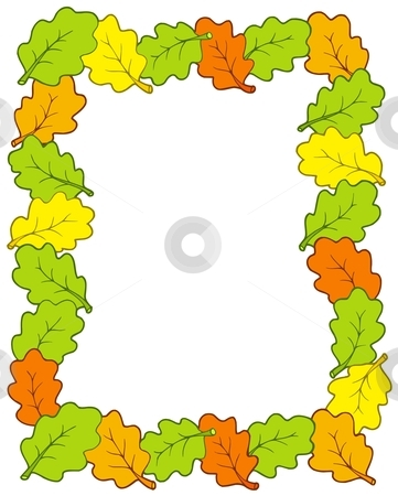 Frame from oak tree leaves stock vector clipart, Frame from oak tree leaves - vector illustration. by Klara Viskova
