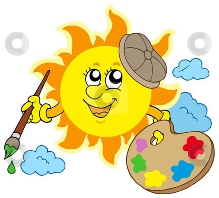 Sun artist stock vector clipart, Sun artist on white background - vector illustration. by Klara Viskova