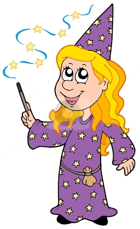 Little wizard girl stock vector clipart, Little wizard girl - vector illustration. by Klara Viskova