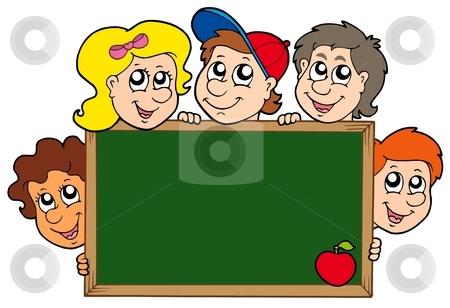 School blackboard with children stock vector clipart, School blackboard with children - vector illustration. by Klara Viskova