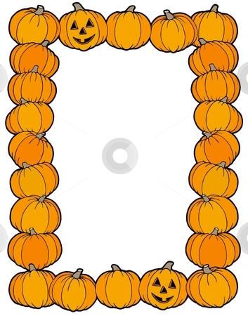 Frame from pumpkins stock vector clipart, Frame from pumpkins - vector illustration. by Klara Viskova
