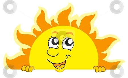 Cute lurking Sun stock vector clipart, Cute lurking Sun - vector illustration. by Klara Viskova
