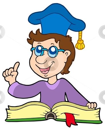 Teacher with book stock vector clipart, Teacher with book - vector illustration. by Klara Viskova