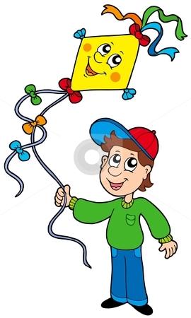 Boy with kite stock vector clipart, Boy with kite - vector illustration. by Klara Viskova