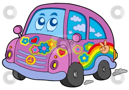 Hippie car stock vector clipart, Hippie car on white background - vector illustration. by Klara Viskova