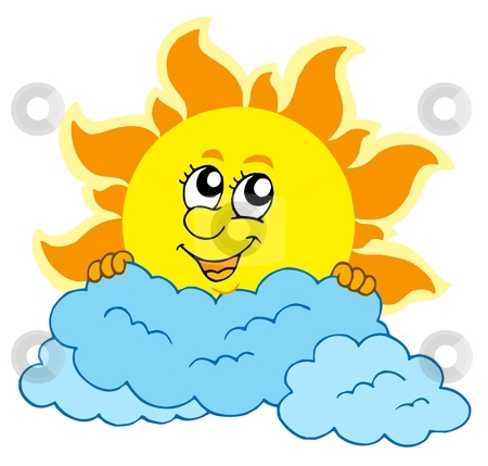 Cute cartoon Sun with clouds stock vector clipart, Cute cartoon Sun with clouds - vector illustration. by Klara Viskova