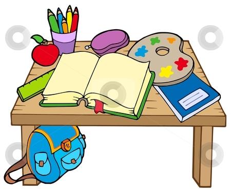 School table 2 stock vector clipart, School table 2 on white background - vector illustration. by Klara Viskova