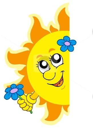 Lurking Sun with flower stock vector clipart, Lurking Sun with flower - vector illustration. by Klara Viskova