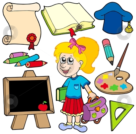 Back to school collection 2 stock vector clipart, Back to school collection 2 - vector illustration. by Klara Viskova