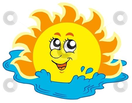 Cartoon Sun bathing in sea stock vector clipart, Cartoon Sun bathing in sea - vector illustration. by Klara Viskova
