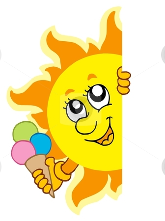 Lurking Sun with ice cream stock vector clipart, Lurking Sun with icecream - vector illustration. by Klara Viskova