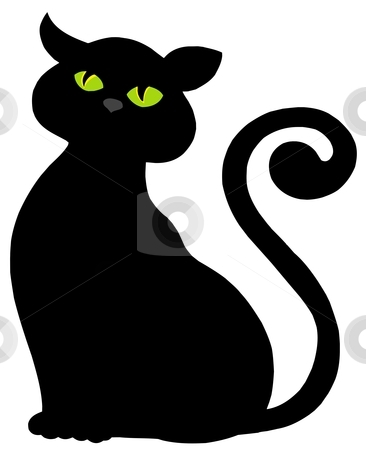 Cat silhouette stock vector clipart, Cat silhouette on white background - vector illustration. by Klara Viskova