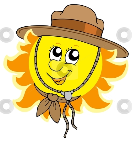 Sun in scout hat stock vector clipart, Sun in scout hat - vector illustration. by Klara Viskova