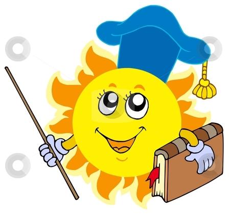 Sun teacher stock vector clipart, Sun teacher on white background - vector illustration. by Klara Viskova