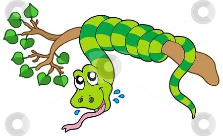 Snake vector on leafy branch stock vector clipart, Snake on leafy branch - vector illustration. by Klara Viskova