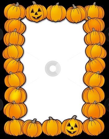Halloween frame with pumpkins stock photo, Halloween frame with pumpkins - color illustration. by Klara Viskova