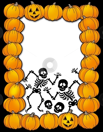 Halloween frame with skeletons stock photo, Halloween frame with skeletons - color illustration. by Klara Viskova
