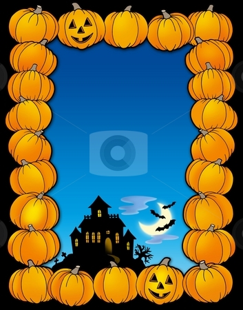 Halloween frame with house stock photo, Halloween frame with house - color illustration. by Klara Viskova