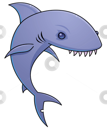 Sharky stock vector clipart, Vector cartoon illustration of a shark with sharp teeth. by John Schwegel
