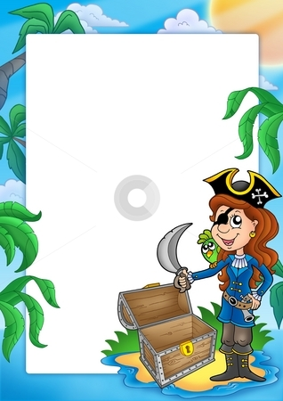 Frame with pirate girl on beach stock photo, Frame with pirate girl on beach - color illustration. by Klara Viskova