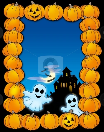 Halloween frame with ghosts stock photo, Halloween frame with ghosts - color illustration. by Klara Viskova