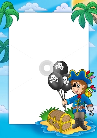 Frame with pirate boy stock photo, Frame with pirate boy - color illustration. by Klara Viskova