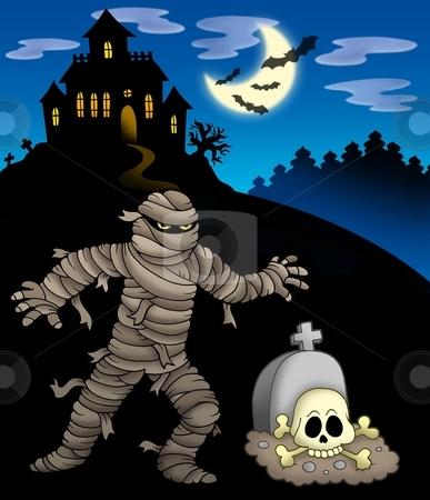 Mummy with haunted mansion stock photo, Mummy with haunted mansion - color illustration. by Klara Viskova