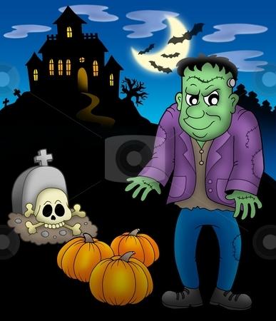 Frankestein with haunted mansion stock photo, Frankenstein with haunted mansion - color illustration. by Klara Viskova