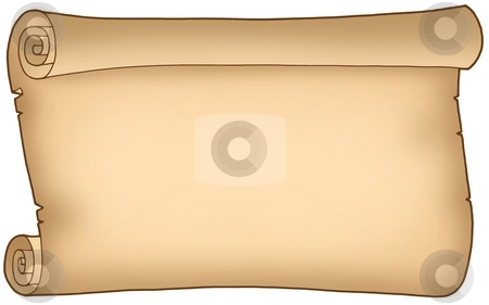 Old wide parchment stock photo, Old wide parchment - color illustration. by Klara Viskova