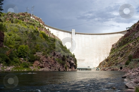 Flaming Gorge stock photo, A large, electricity producing dam on a river. by Andrew Orlemann