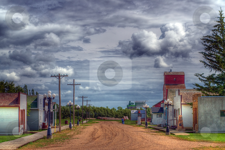 HDR of a small village stock photo, The main street of a small village set in the olden days done in HDR by Richard Nelson