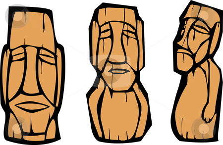 Group of Moai stock vector clipart, Group of mixed styled Easter Island Moai heads. by Jeffrey Thompson