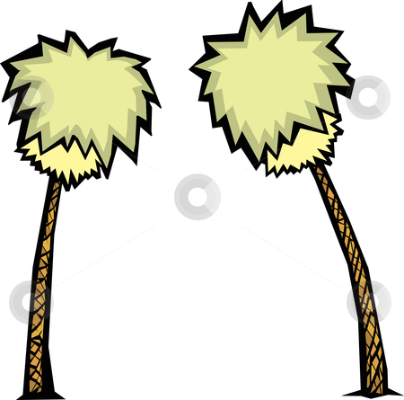 Pair of Palm Trees stock vector clipart, A pair of stylized palm trees with green tops. by Jeffrey Thompson
