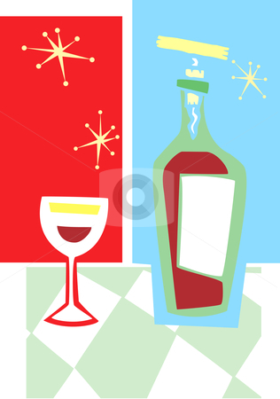 Retro Wine and Glass #2 stock vector clipart, Space age retro styled wine bottle and glass. by Jeffrey Thompson
