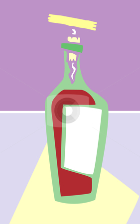 Wine Bottle stock vector clipart, Retro styled wine bottle in purple colors. by Jeffrey Thompson