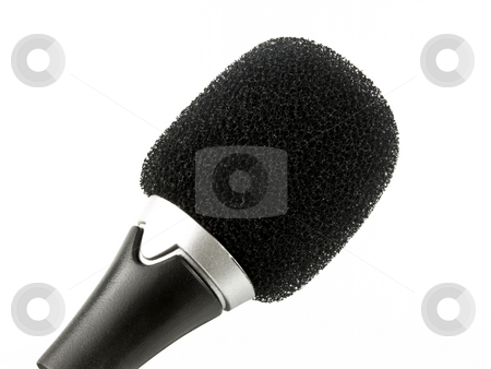Microphone on white stock photo, Microphone close up on a white background by John Teeter