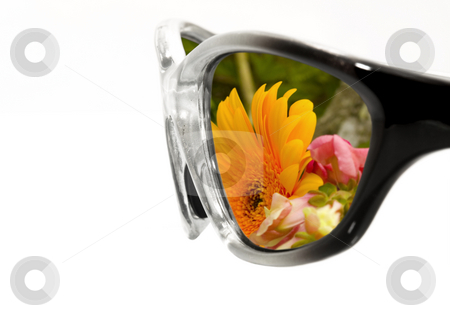 Sunglasses with Flowers stock photo, Sunglasses with flower refection on white background by John Teeter