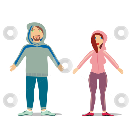 Fully editable vector couple in jogging suit  stock vector clipart, Fully editable vector couple in jogging suit by pilgrim.artworks
