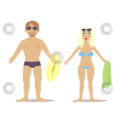 Fully editable vector couple in swim suit  stock vector clipart, Fully editable vector couple in swim suit by pilgrim.artworks