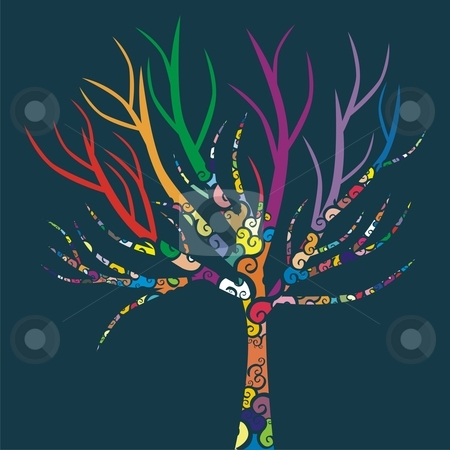 Fully editable vector illustration of a tree with colored patterns  stock vector clipart, Fully editable vector illustration of a tree with colored patterns by pilgrim.artworks