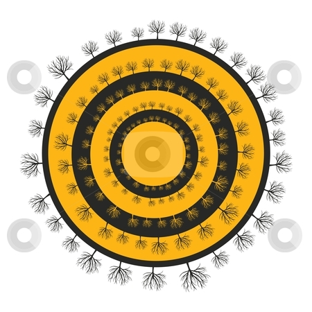 Fully editable vector illustration of trees silhouettes stock vector clipart, Fully editable vector illustration of trees silhouettes around black and yellow circles with details ready to use by pilgrim.artworks